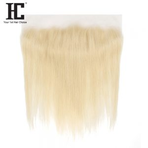HC Hair 613 Blonde Lace Frontal Non Remy Brazilian Straight Weave 13x4 Ear To Ear Closure With Baby Hair One Bundle Pre Plucked