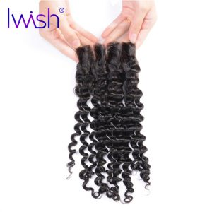 Iwish Hair Malaysian Curly Hair Lace Closure Weave Human Remy Hair Free Part Hair Closure 4x4 inch Can Be Bleached  8-20 inch