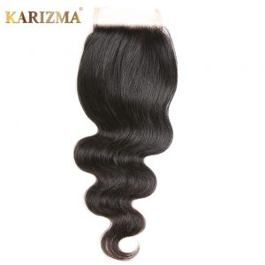Karizma Body Wave Lace Closure Free Part Remy Human Hair Weave 10-18inches Natural Color 4*4 1 Piece Only