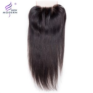 "Modern Show Remy Hair 4""x4"" Straight Swiss Lace Closure Three Part Design 130% Density Human hair Weave Natural Black Free Ship"