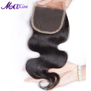 "Maxine Hair Body Wave Lace Closure 4""x 4"" Swiss Lace with 130% Density Free Part Lace Closure Sew in Weave Human Virgin Hair"