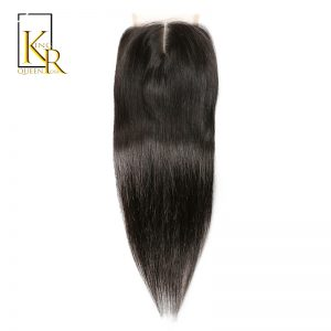 Straight Lace Closure Brazilian Hair 4 x 4 Remy Human Hair Closure Middle Part 1PC Bundle Plucked With Baby Hair King Rosa Queen