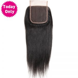 [TODAY ONLY] Brazilian Straight Hair Lace Closure With Baby Hair 100% Human Hair Bundles Natural Black Color Non Remy Hair