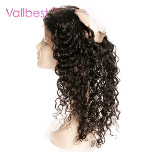 Vallbest Deep Wave Closure 360 Lace Frontal 100% Human Hair Bundles With Baby Non Remy Hair 1B Natural Black Free Part Closure