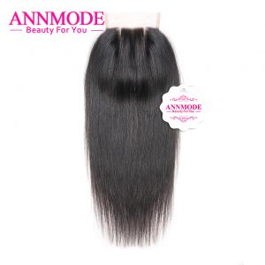 [Annmode] Lace Closure Malaysian Straight Hair 3 Part Non-remy Human Hair Closure A Bundles With Free Shipping