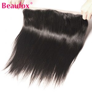 Beaufox Ear to Ear Lace Frontal Closure Brazilian Straight Human Hair Bundles Free Part Non-remy Hair Extension