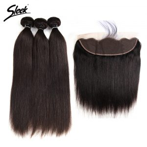 Sleek Hair Brazilian Straight Lace Frontal Closure With Bundles 4 Pcs Free Shipping Remy Human Hair Weave 3 Bundles With Closure
