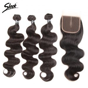 Sleek Brazilian Body Wave Hair With Lace Closure Middle Part 4 Pcs Free Shipping Remy Human Hair Weave 3 Bundles With Closure