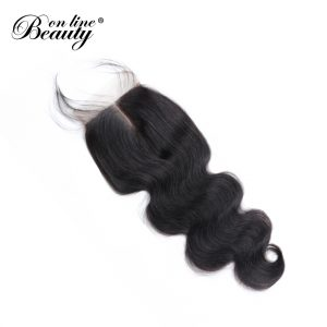 Brazilian Body Wave With Closure With Baby Hair Remy Human Hair Bundles Middle Part Closure BOL 1 Bundle Lace Hair Closure
