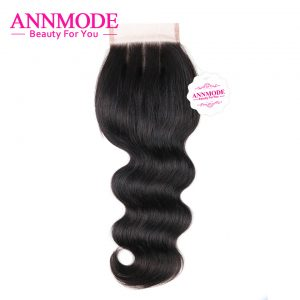 "Annmode Brazilian Body Wave Lace Closure Three Part 4""X4"" Swiss Lace A Bundle Free Shippping Non-remy Human Hair Closure"