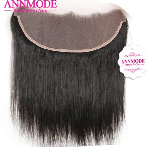 Annmode Human Hair Lace Frontal Closure Brazilian Straight Hair Ear to Ear 13*4  A bundle Free Shipping With Non-remy Hair