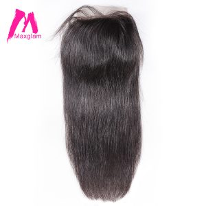Maxglam Lace Closure With Baby Hair 4X4 Swiss Lace Closure Brazilian Straight Remy Human Hair Bundles Free Shipping