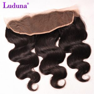 Luduna Hair Ear To Ear Lace Frontal Closure Free Part Brazilian Body Wave Non-remy Human Hair Bundles Natural Black Color