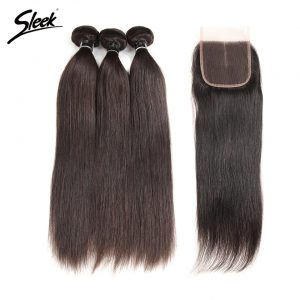Sleek Brazilian Straight Hair With Lace Closure Middle Part 4 Pcs Natural Color Free Ship Remy Human Hair 3 Bundles With Closure