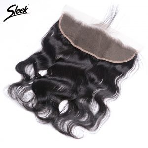 Sleek Brazilian Body Wave 13x4 Lace Frontal Closure With Baby Hair 100% Remy Human Hair 1 Bundle Natural Color Free Part