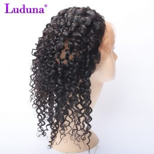 Luduna Hair Deep Wave 360 Lace Frontal Closure With Adjustable Strips Non-remy Human Hair Bundles 8-20Inch Free Part