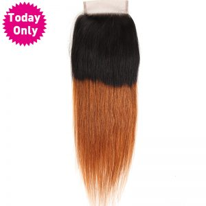 [TODAY ONLY] Ombre Brazilian Straight Hair Lace Closure With Baby Hair Two Tone Human Hair Bundles 1b 30 Non Remy Hair Extension