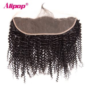 ALIPOP Brazilian Kinky Curly Lace Frontal Closure With Baby Hair Natural Hairline Non Remy Human Hair Bundles Pre Plucked