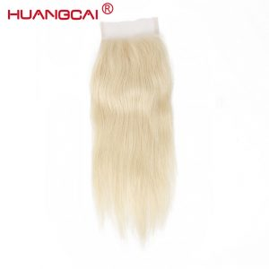 Huangcai Brazilian 613 Lace Closure With Baby Hair 4X4 Bleached Knot One Bundle Blond Straight Human Hair Closure Free Part Remy