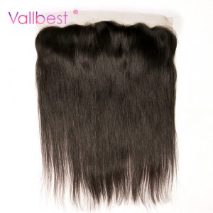 Straight Hair Lace Frontal Human Hair Bundles Closure 4X13 inch Free Part Natural Black Non-Remy Vallbest Hair Brown Lace 120%