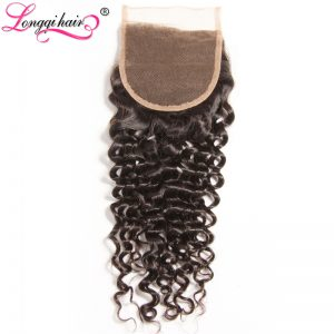 LONGQI HAIR Free Part 4x4 Cambodian Curly Closure Non-Remy Hair 10''-20'' Natural Blakc Human Hair 120% Density Free Shipping