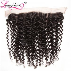 Longqi Hair Cambodian Curly Lace Frontal Closure Non Remy Hair Ear to Ear 13x4 100% Human Hair 10inches-20inches Free Shipping