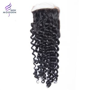 Modern Show Curly Hair Remy Hair Free Part Lace Closure Swiss Lave 100% Human Hair Natural Black 1B Free Shipping