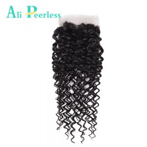 Ali Peerless Hair Kinky Curly Lace Closure 4*4 Virgin Hair Free Part 100% Human Hair Hand Tied Closure Natural Color 10-20inch