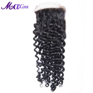 Maxine Hair Kinky Curly Lace Closure 4*4 Swiss Lace Medium Brown With Baby Hair 100% Remy Human Hair Free Part Bleached Knots