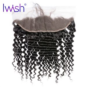 Iwish Curly Human Hair 13x4 Inch Ear to Ear Lace Frontal Closure Free Part with Baby Hair Remy Hair 1 Piece
