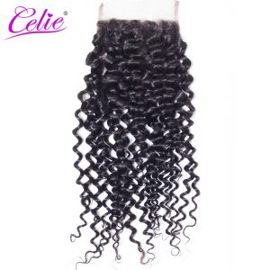 Celie Hair 4x4 Brazilian Curly Hair Lace Closure Free Part 10-22inch Remy Human Hair Closure Natural Black Color Can Be Bleached