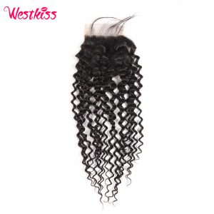 West Kiss Remy Hair Brazilian Jerry Curly Hair Lace Closure 4x4 inch Free Part 100% Human Hair Shipping Free