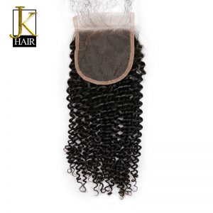 JK Hair Brazilian Remy Hair Kinky Curly Lace Closure 4x4 100% Human Natural Hair Free Part With Baby Hair Bleached Knots