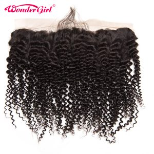 Wonder girl Brazilian Kinky Curly Ear to Ear Pre Plucked Lace Frontal Closure With Baby Hair 100% Human Hair Frontal Remy Hair