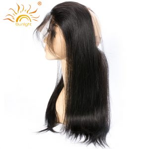 Sunlight Remy Hair 360 Lace Frontal Closure with Baby Hair Brazilian Hair Straight Pre Plucked Frontal with Adjustable Straps