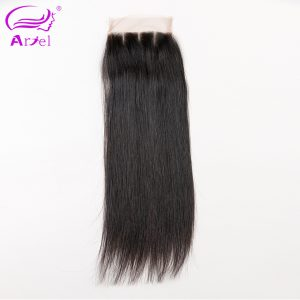 Ariel Brazilian Lace Closure Straight 4*4 Three Part 100% Remy Human Hair Closure Free Shipping