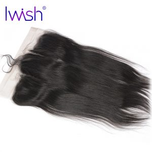 Iwish 13x4 Ear to Ear Lace Frontal Closure Straight Human Hair With Baby Hair 130% Density Free Part Hand Tied Remy Hair 1 Piece