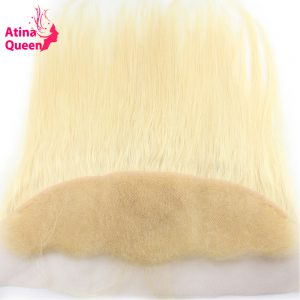 Atina Queen Straight 13x4 Ear to Ear Lace Frontal Closure with Baby Hair Bleached Knots Pre Plucked 613 Blonde Remy Human Hair