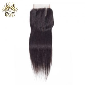 King Hair Malaysian Straight Lace Closure 4*4 Three Part 130% Bleached Knots Swiss Lace Remy Human Hair Closure Free Shipping