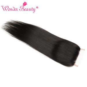 Wonder Beauty Hair Malaysia Straight remy hair 4 x 4 Free Part Swiss Lace Closure Natural Color 8-20inches Human Hair Hand tied