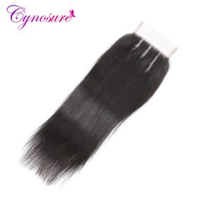Cynosure Peruvian Straight Hair Lace Closure Three Part 4 x 4 Human Hair Closure Natural Color Non-remy Hair