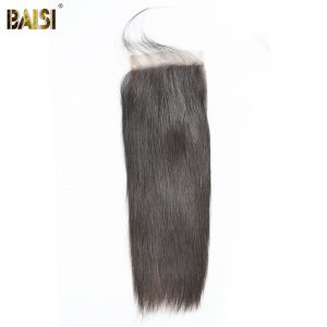 BAISI Peruvian Virgin Hair Lace Closure Straight hair 5*5 Closure Free Part Free Shipping
