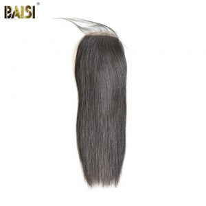 BAISI Peruvian Straight Silk Base Closure,Free Part Size 4*4,100% Virgin Hair Free Shipping