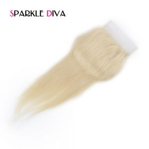 [SPARKLE DIVA HAIR] 613 Blonde Lace Closure Straight 4x4 Brazilian Non-Remy Human Hair Free Part Bleached Knots With Baby Hair