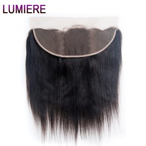 "Lumiere Hair Peruvian Straight Hair Lace Frontal 13x4 Ear To Ear Lace Closure With Baby Hair Remy Human Hair Free Part 8""-20"""