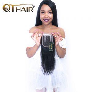 QThair Remy Malaysian Straight Hair Closure With Baby Hair 4x4 Three Part Lace Closure Can Match Hair Bundles Free Ship
