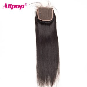 ALIPOP Peruvian Straight Lace Closure With Baby Hair Non Remy Hair Swiss Lace Human Hair Closure Natural Black Color 4*4 Size