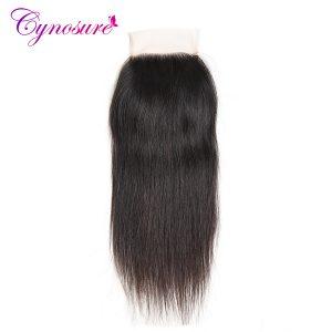Cynosure Brazilian Straight Hair Lace Closure Free Part 4 x 4 Non-remy Hair Closure Natural Color 100% Human Hair Free Shipping