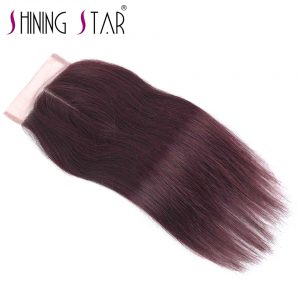 Burgundy Middle Part Closure Peruvian Straight Hair Extensions 10-18 Inch 4*4 Swiss Lace Shining Star Non Remy Hair Red Closure