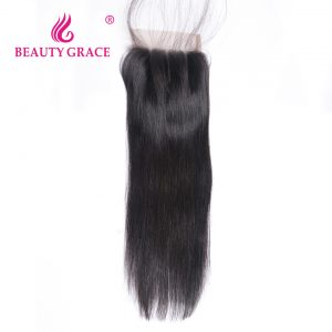 Beauty Grace Brazilian Straight Lace Closure With Baby Hair 4x4 100% Remy Human Hair Three Part Top Closures
